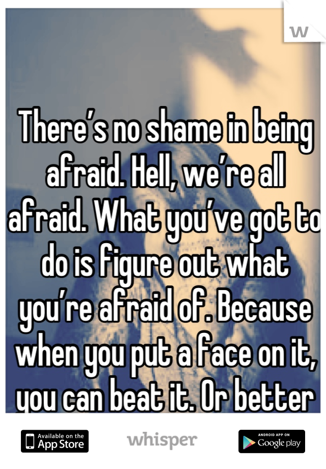 There's no shame in being afraid. Hell, we're all afraid. What you've got to do is figure out what you're afraid of. Because when you put a face on it, you can beat it. Or better yet, you can use it.