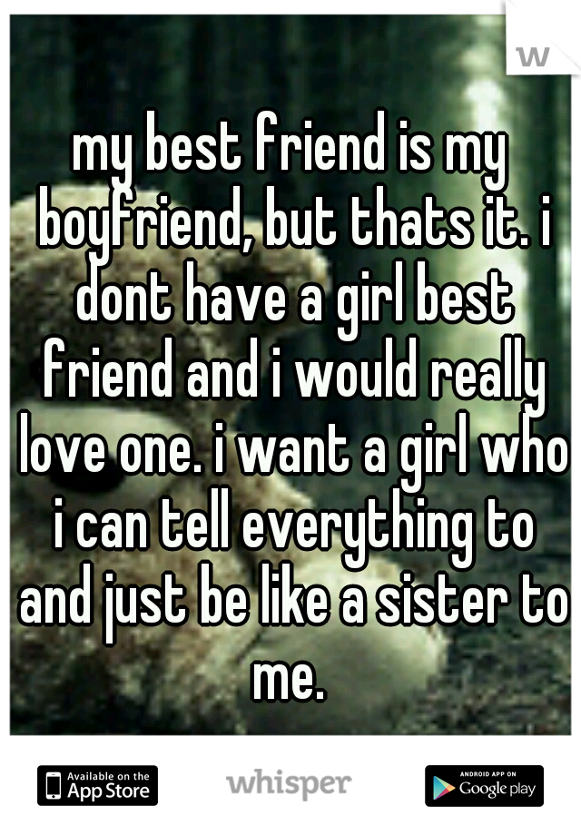 my best friend is my boyfriend, but thats it. i dont have a girl best friend and i would really love one. i want a girl who i can tell everything to and just be like a sister to me.
