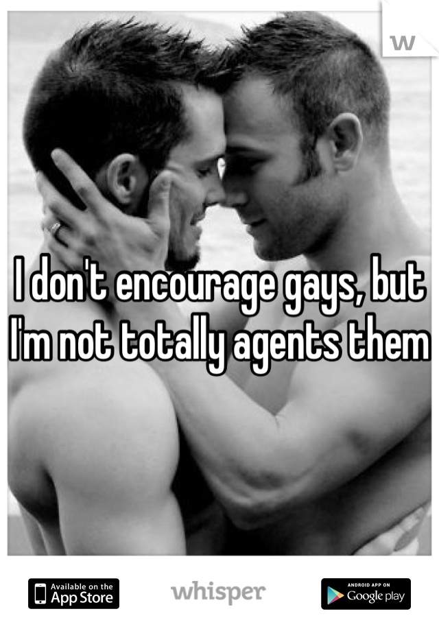 I don't encourage gays, but I'm not totally agents them