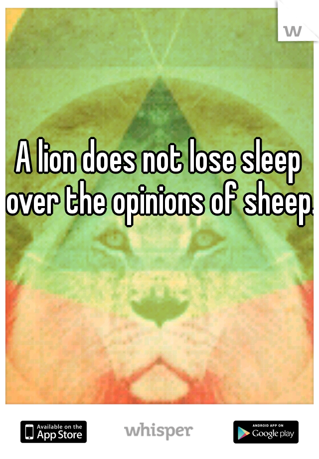 A lion does not lose sleep over the opinions of sheep.