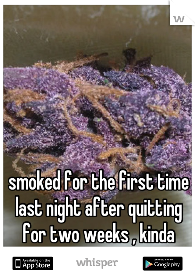 smoked for the first time last night after quitting for two weeks , kinda disappointed in myself