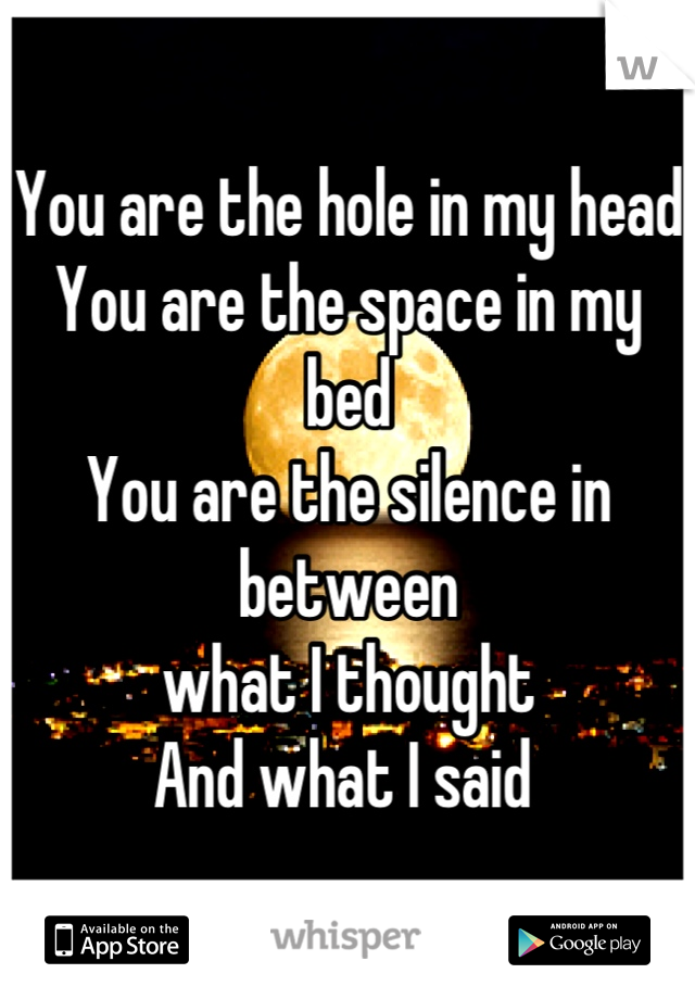 You are the hole in my head You are the space in my bed You are the silence in between  what I thought  And what I said