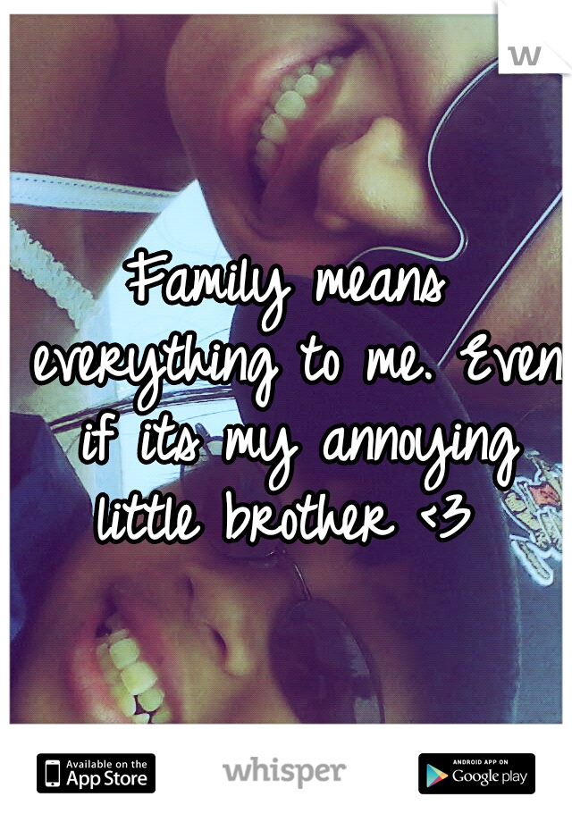Family means everything to me. Even if its my annoying little brother <3