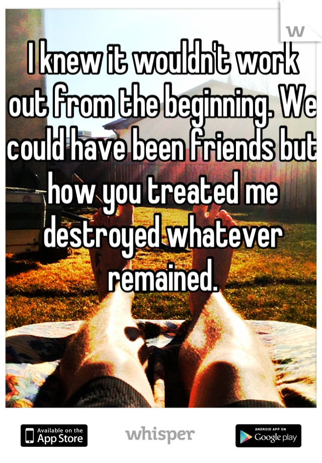 I knew it wouldn't work out from the beginning. We could have been friends but how you treated me destroyed whatever remained.