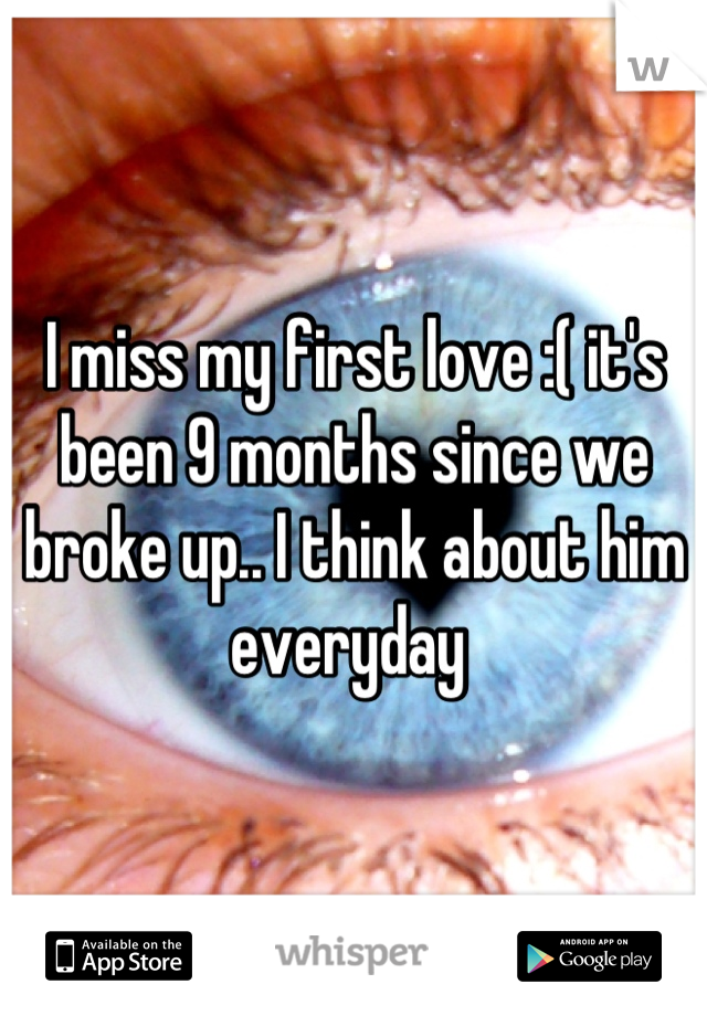 I miss my first love :( it's been 9 months since we broke up.. I think about him everyday
