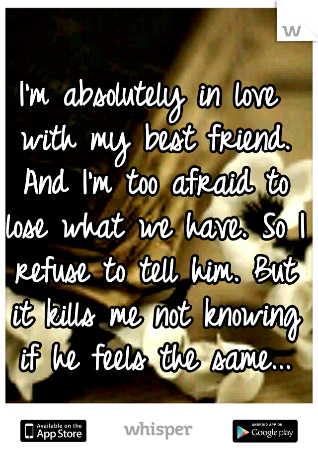I'm absolutely in love with my best friend. And I'm too afraid to lose what we have. So I refuse to tell him. But it kills me not knowing if he feels the same...