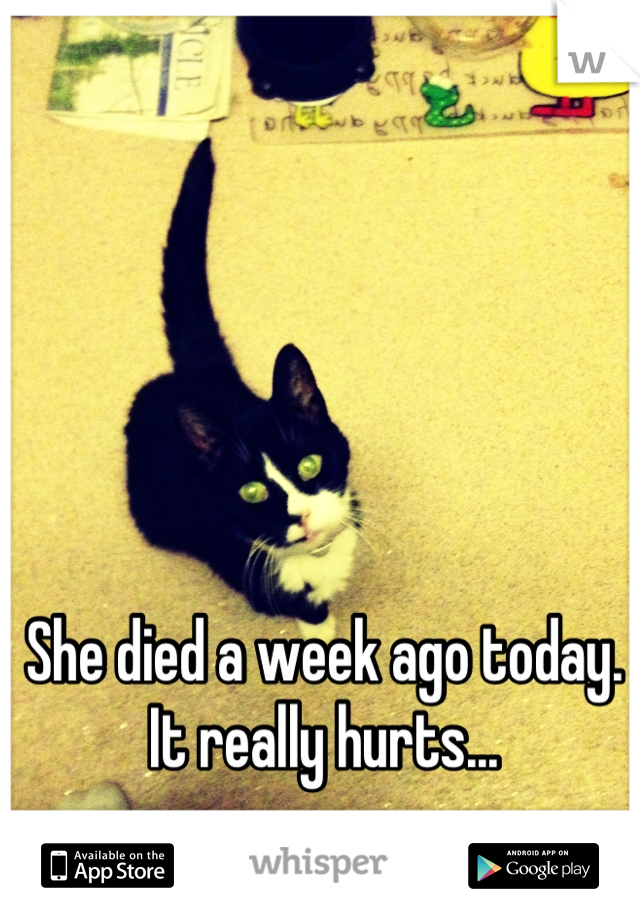 She died a week ago today. It really hurts...