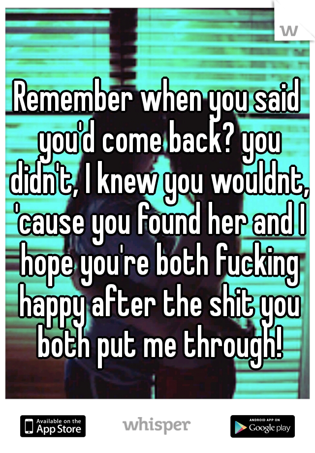 Remember when you said you'd come back? you didn't, I knew you wouldnt, 'cause you found her and I hope you're both fucking happy after the shit you both put me through!