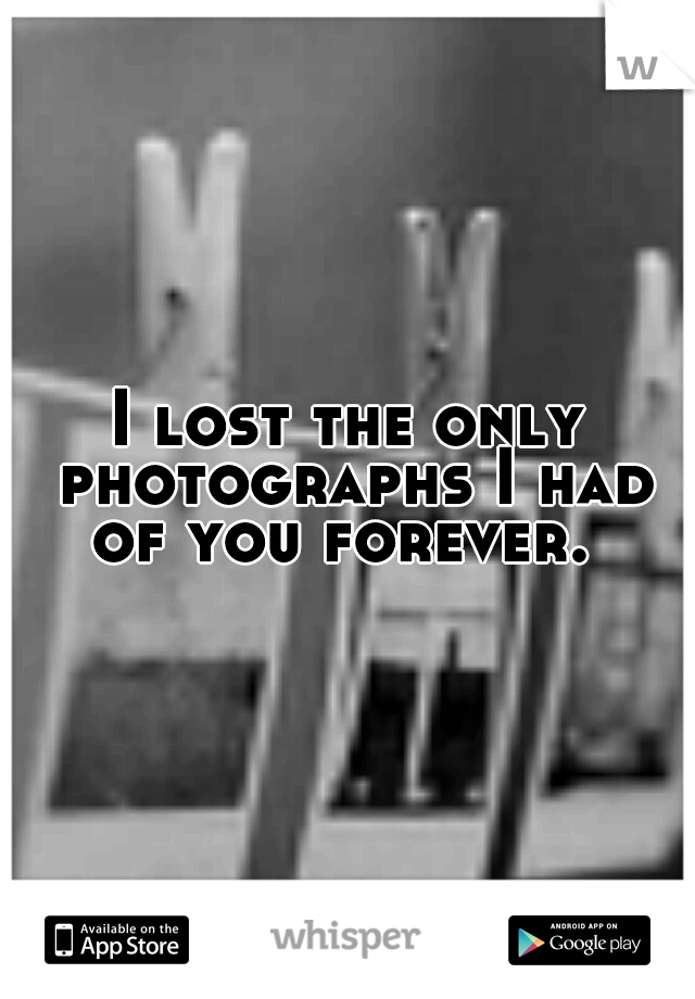 I lost the only photographs I had of you forever.