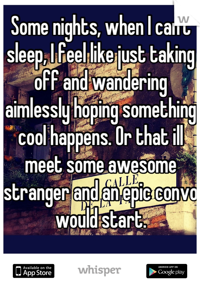 Some nights, when I can't sleep, I feel like just taking off and wandering aimlessly hoping something cool happens. Or that ill meet some awesome stranger and an epic convo would start.