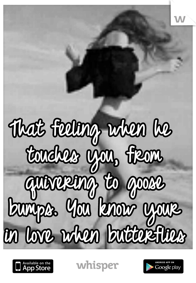 That feeling when he touches you, from quivering to goose bumps. You know your in love when butterflies are in your stomach.