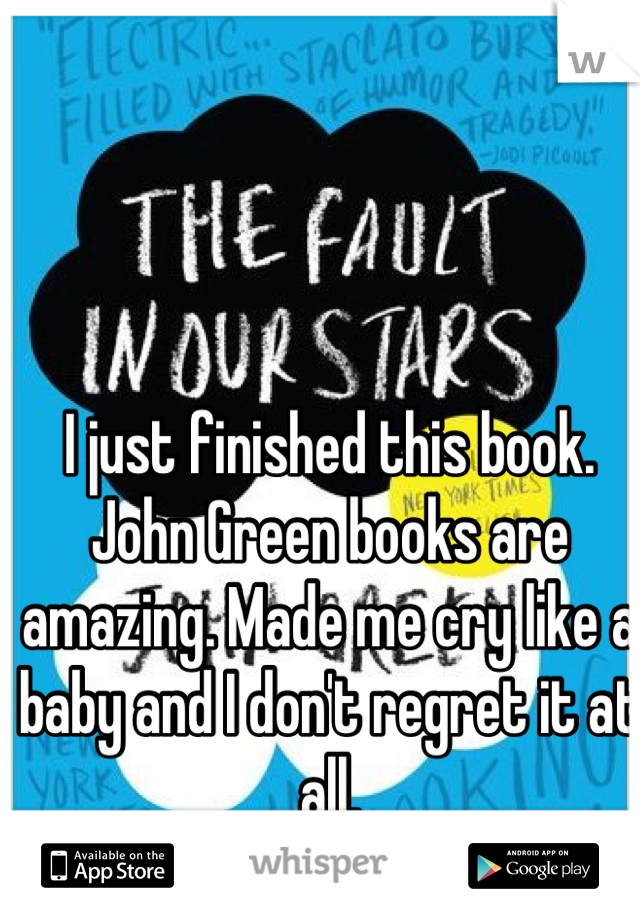 I just finished this book. John Green books are amazing. Made me cry like a baby and I don't regret it at all.