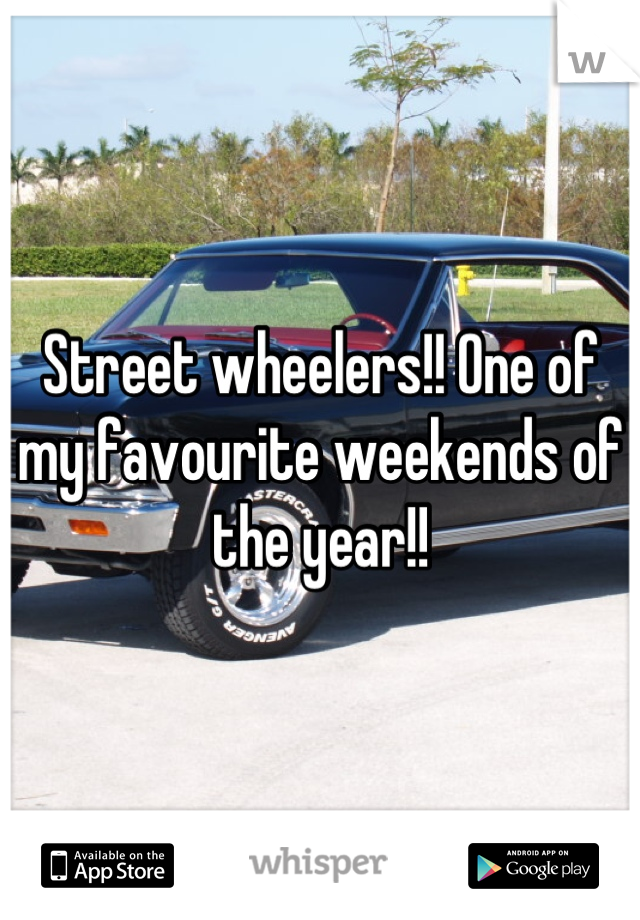 Street wheelers!! One of my favourite weekends of the year!!