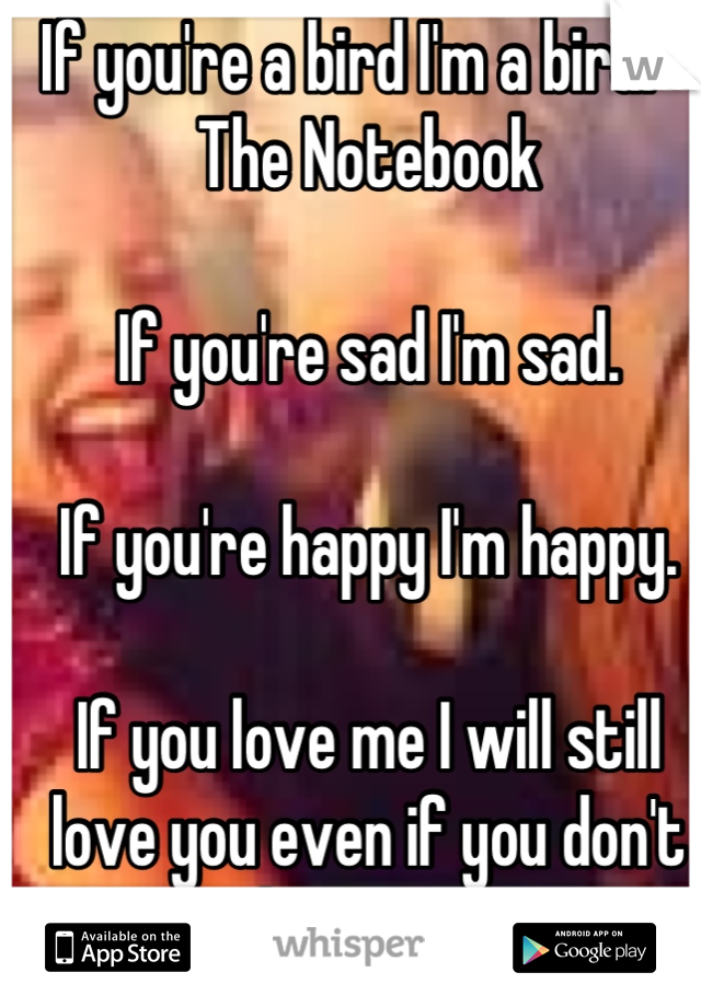 If you're a bird I'm a bird. -The Notebook  If you're sad I'm sad.   If you're happy I'm happy.  If you love me I will still love you even if you don't love me.