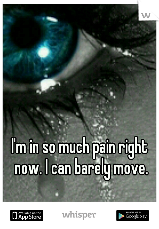I'm in so much pain right now. I can barely move.