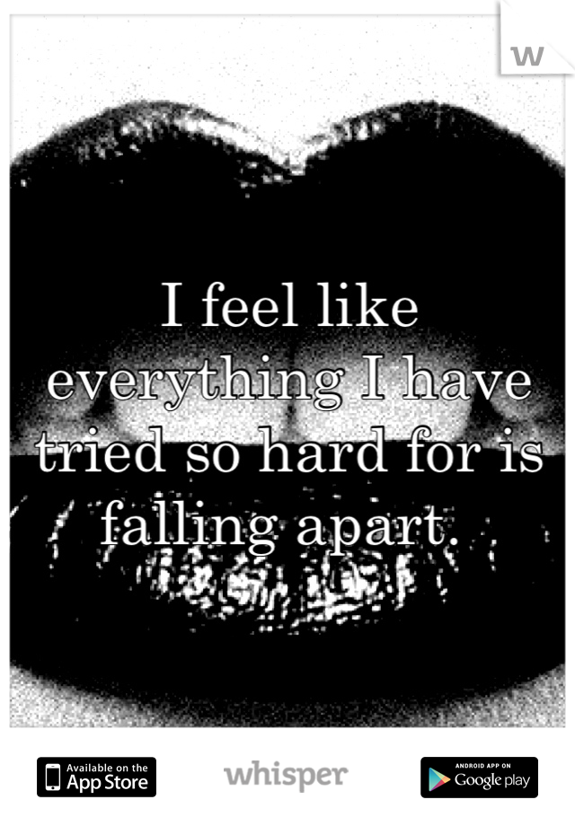 I feel like everything I have tried so hard for is falling apart.