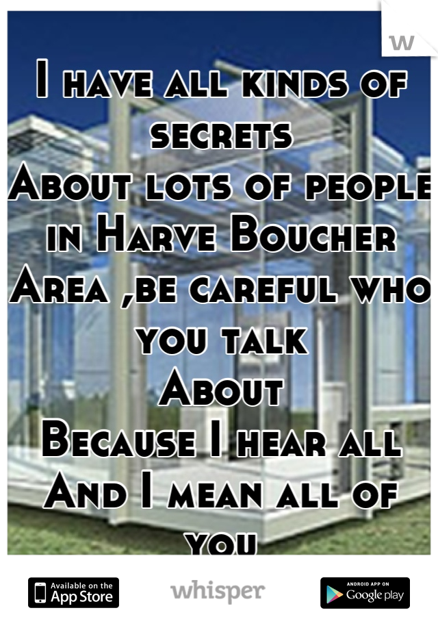I have all kinds of secrets  About lots of people in Harve Boucher Area ,be careful who you talk  About  Because I hear all And I mean all of you