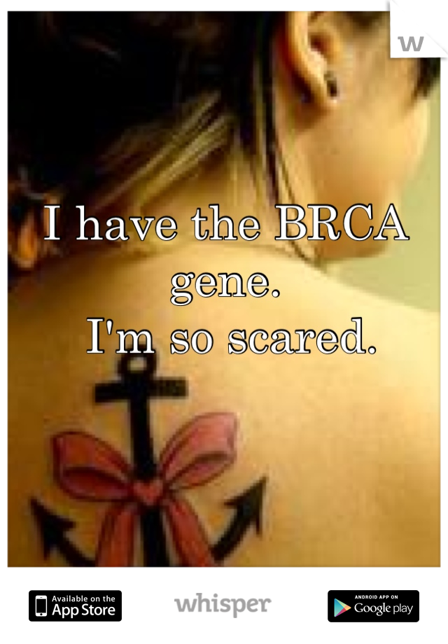 I have the BRCA gene.  I'm so scared.