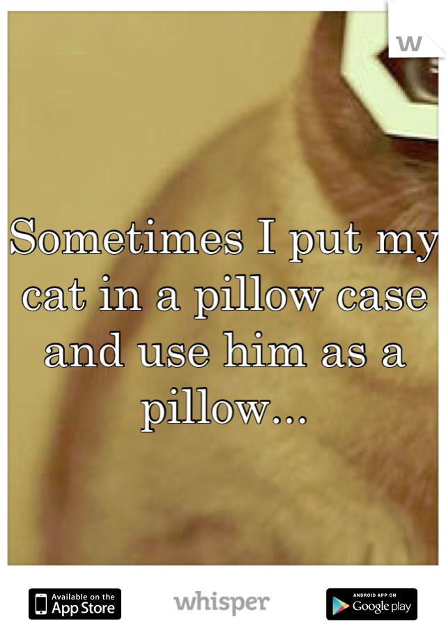 Sometimes I put my cat in a pillow case and use him as a pillow...