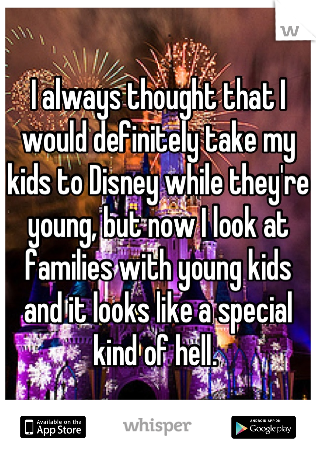 I always thought that I would definitely take my kids to Disney while they're young, but now I look at families with young kids and it looks like a special kind of hell.