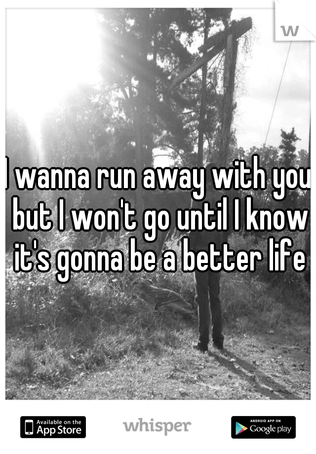 I wanna run away with you but I won't go until I know it's gonna be a better life