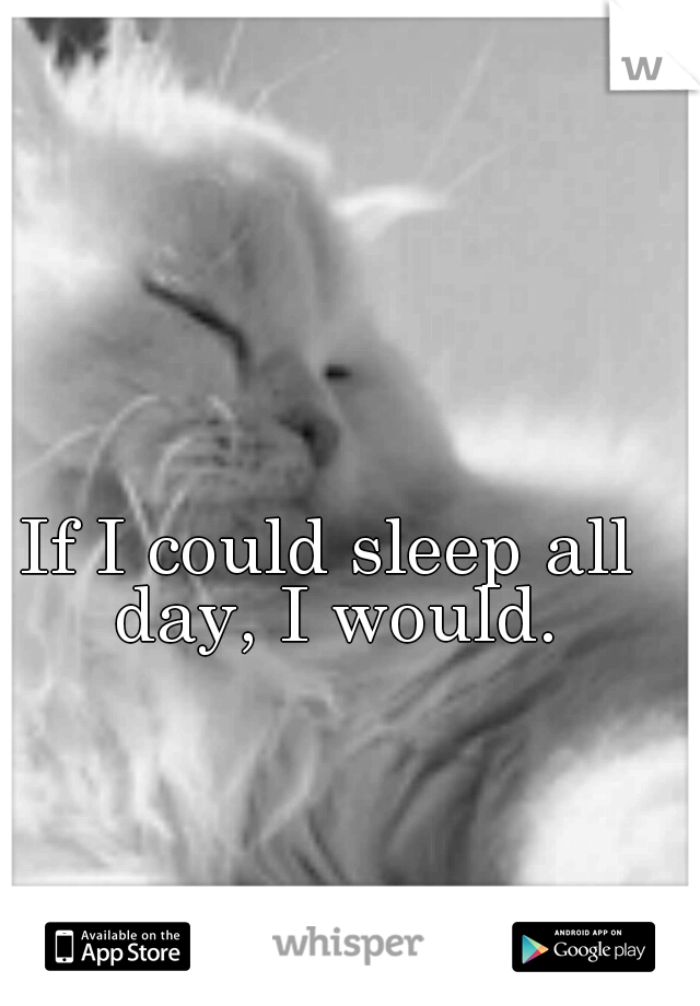 If I could sleep all day, I would.