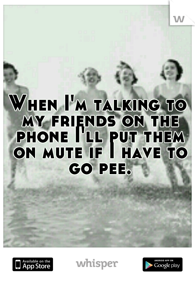When I'm talking to my friends on the phone I'll put them on mute if I have to go pee.