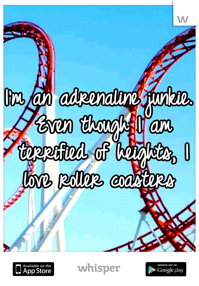 I'm an adrenaline junkie. Even though I am terrified of heights, I love roller coasters