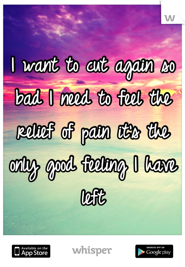 I want to cut again so bad I need to feel the relief of pain it's the only good feeling I have left