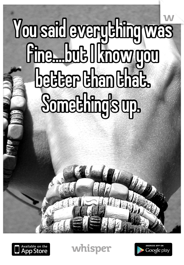 You said everything was fine....but I know you better than that. Something's up.