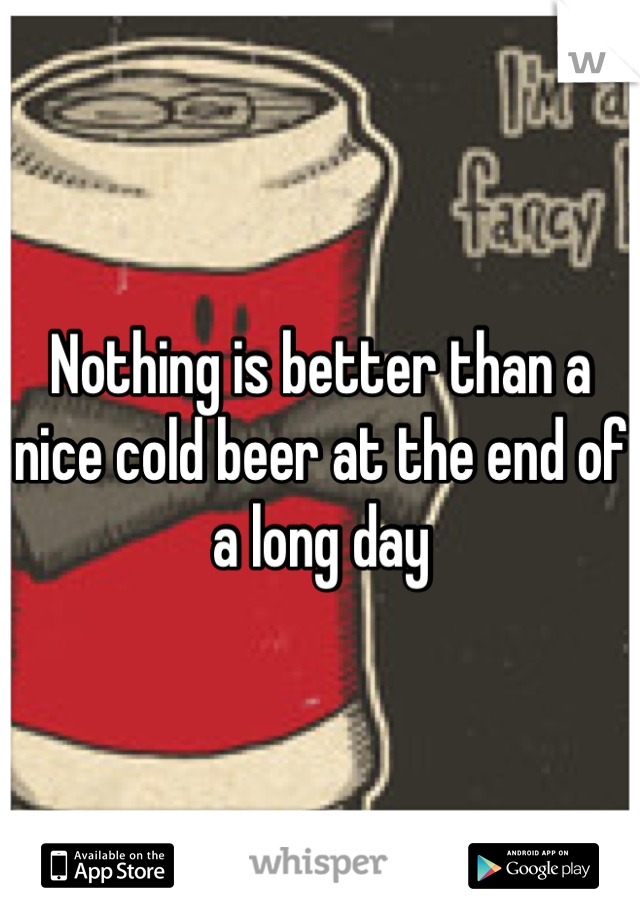 Nothing is better than a nice cold beer at the end of a long day