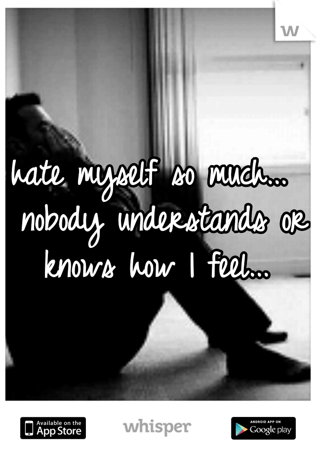 hate myself so much...  nobody understands or knows how I feel...