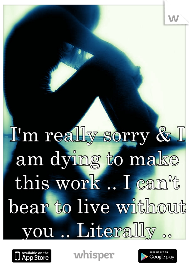 I'm really sorry & I am dying to make this work .. I can't bear to live without you .. Literally ..