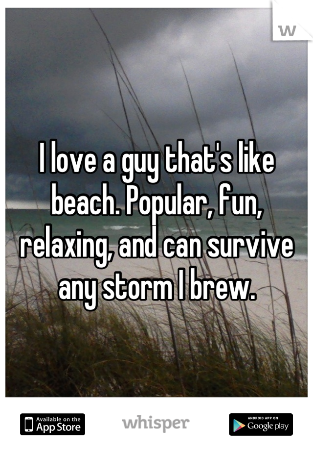 I love a guy that's like beach. Popular, fun, relaxing, and can survive any storm I brew.