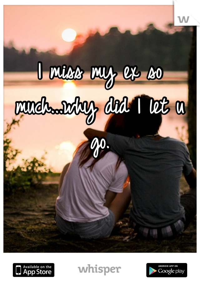 I miss my ex so much...why did I let u go.