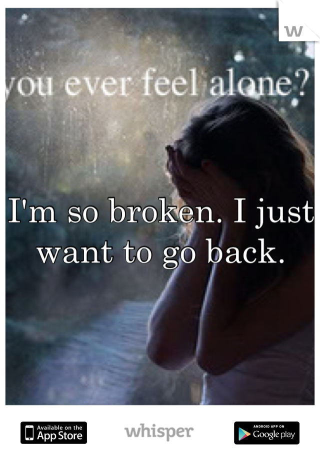 I'm so broken. I just want to go back.