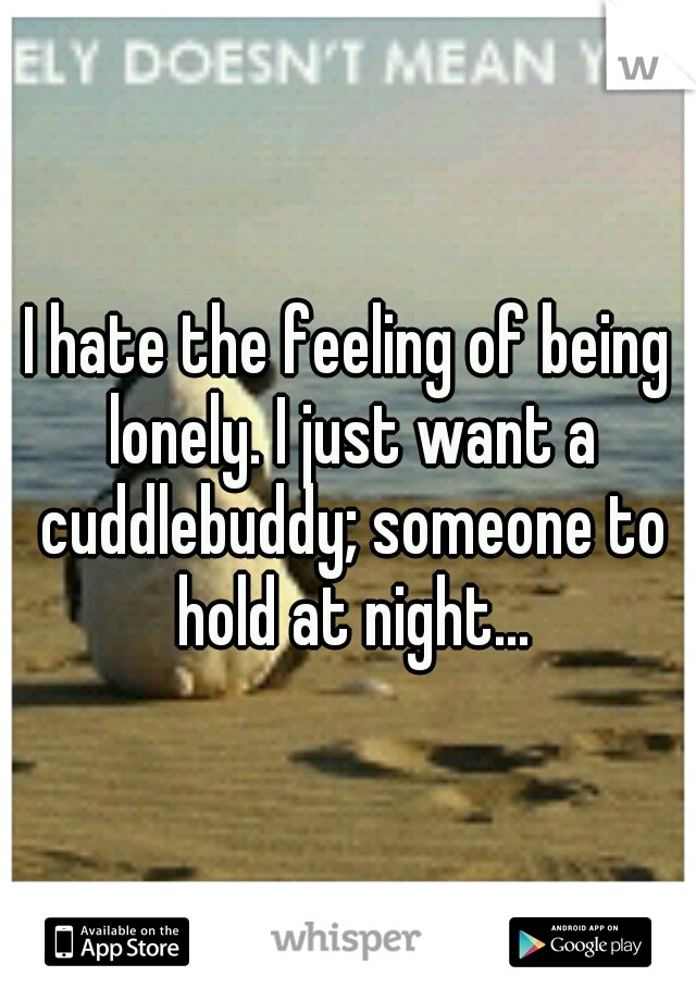 I hate the feeling of being lonely. I just want a cuddlebuddy; someone to hold at night...