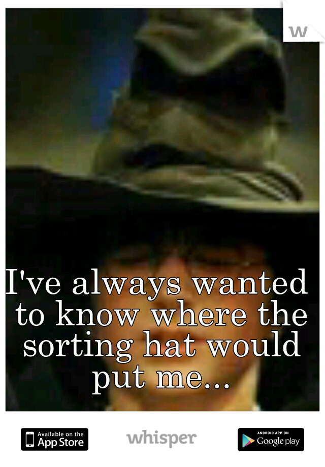 I've always wanted to know where the sorting hat would put me...