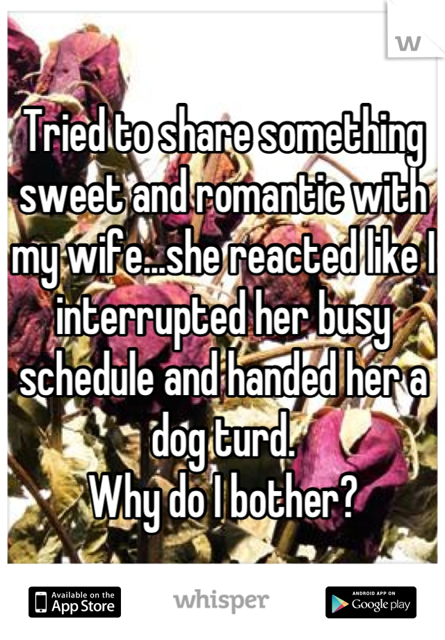 Tried to share something sweet and romantic with my wife...she reacted like I interrupted her busy schedule and handed her a dog turd. Why do I bother?