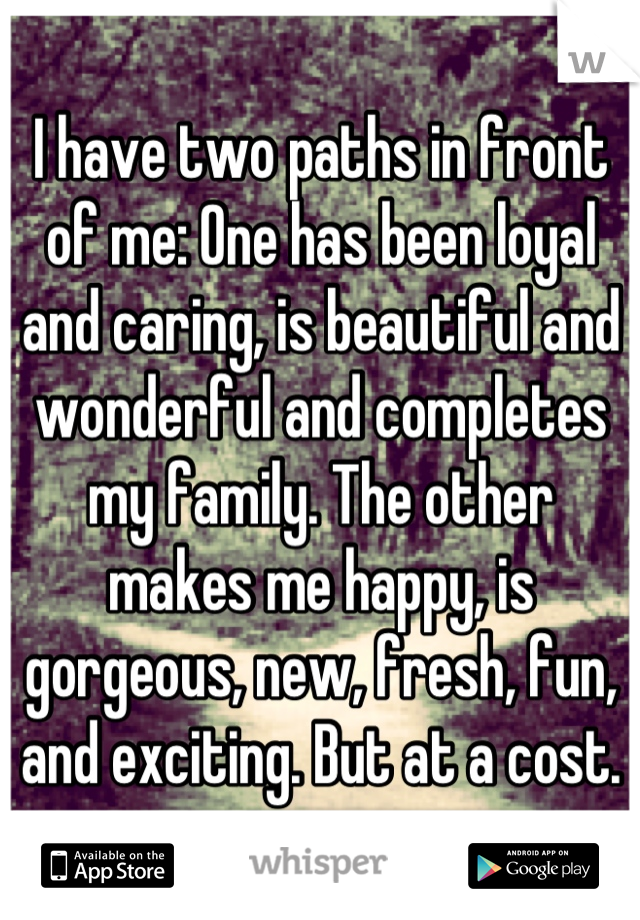 I have two paths in front of me: One has been loyal and caring, is beautiful and wonderful and completes my family. The other makes me happy, is gorgeous, new, fresh, fun, and exciting. But at a cost.