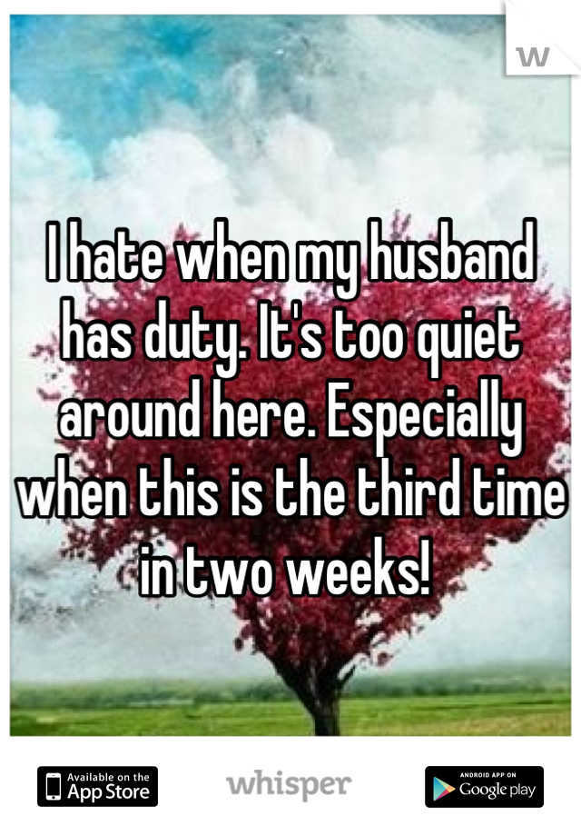 I hate when my husband has duty. It's too quiet around here. Especially when this is the third time in two weeks!