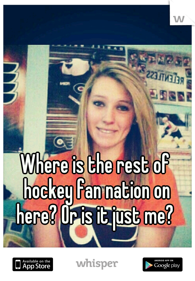 Where is the rest of hockey fan nation on here? Or is it just me?