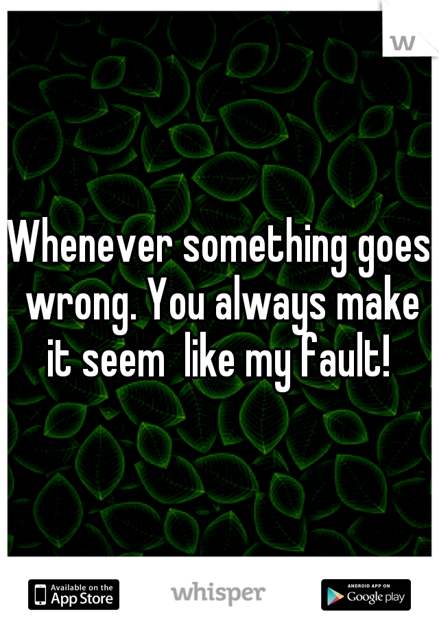 Whenever something goes wrong. You always make it seem  like my fault!