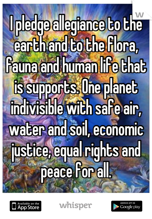 I pledge allegiance to the earth and to the flora, fauna and human life that is supports. One planet indivisible with safe air, water and soil, economic justice, equal rights and peace for all.  🌛🌞🌜