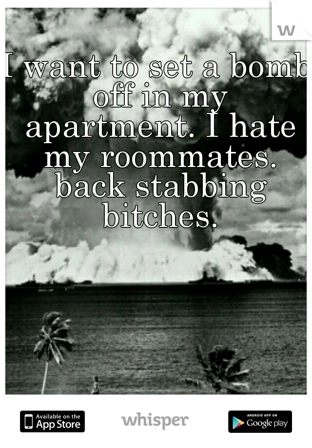 I want to set a bomb off in my apartment. I hate my roommates. back stabbing bitches.