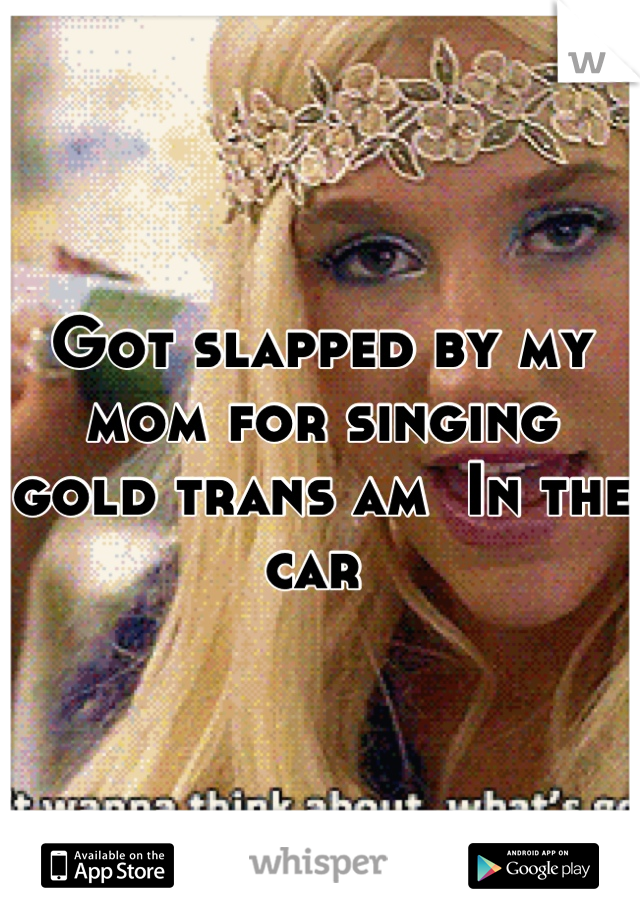 Got slapped by my mom for singing gold trans am  In the car