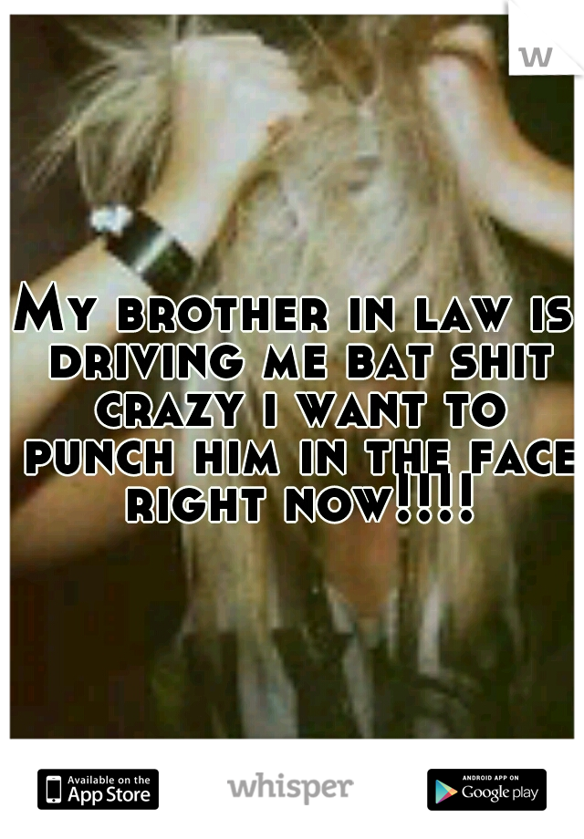 My brother in law is driving me bat shit crazy i want to punch him in the face right now!!!!
