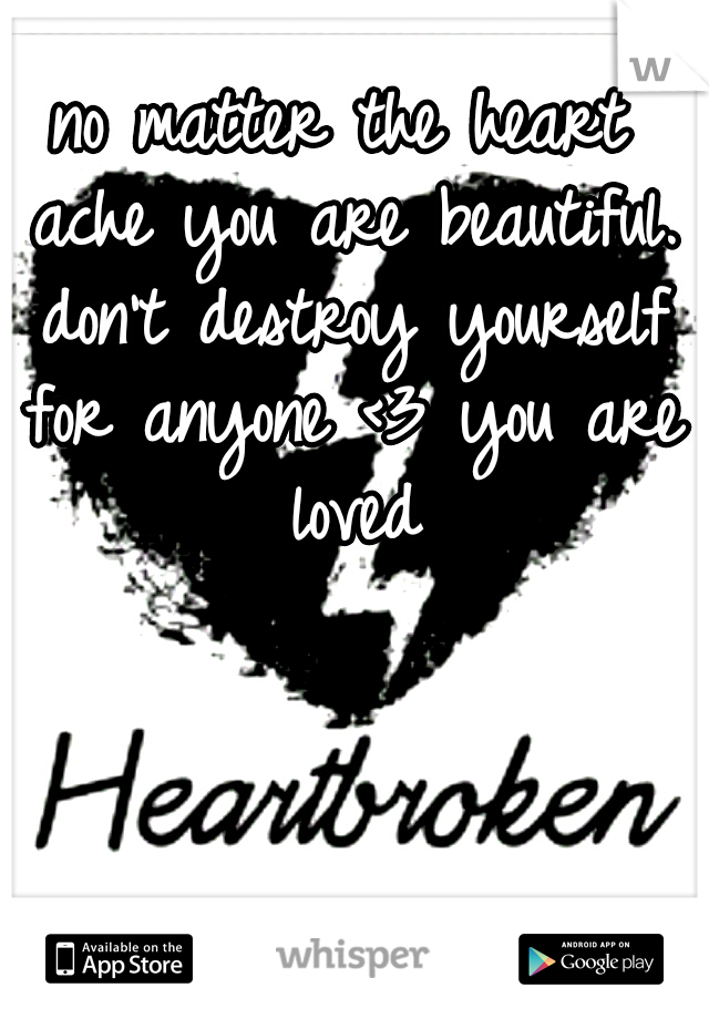 no matter the heart ache you are beautiful. don't destroy yourself for anyone <3 you are loved