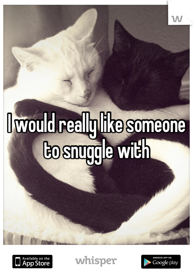 I would really like someone to snuggle with
