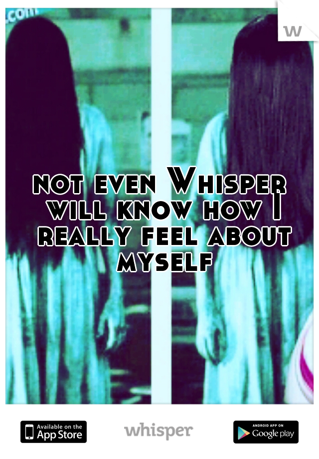 not even Whisper will know how I really feel about myself